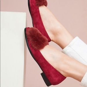 Anthropologie Matika Pamela faux fur loafers.